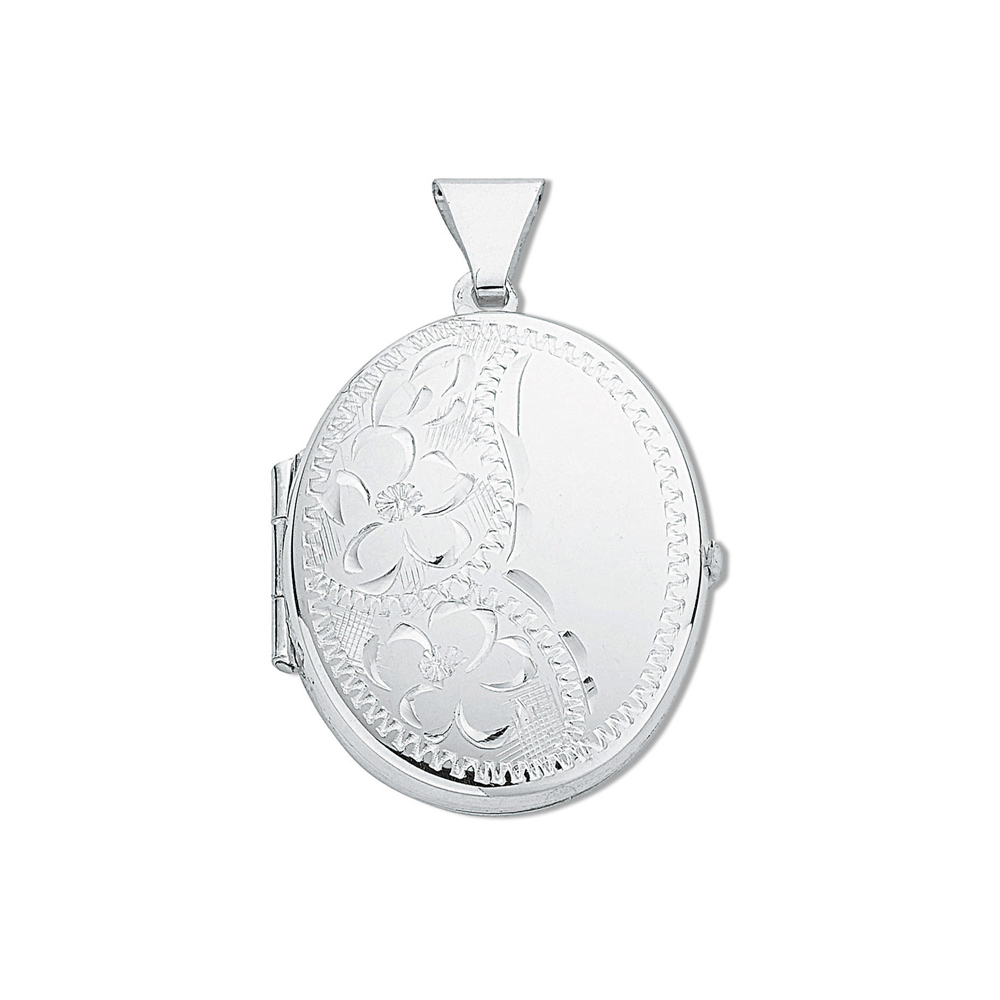 438250b2f Silver Medium Engraved Oval Shaped Locket